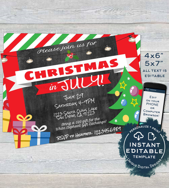 Christmas in July Invitations, Editable July Summer Party Invite, Summer Christmas Party Xmas Personalized Custom Printable INSTANT DOWNLOAD