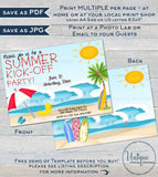 Summer KickOff Party Invitation Summer Beach Picnic Invite Surfs Up Party Surf board Sun Kick Off Printable Custom INSTANT Self EDITABLE