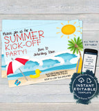 Summer KickOff Party Invitation, Editable Summer Beach Picnic Invite, Surfs Up Surfboard Sun Kick Off Printable Custom INSTANT DOWNLOAD