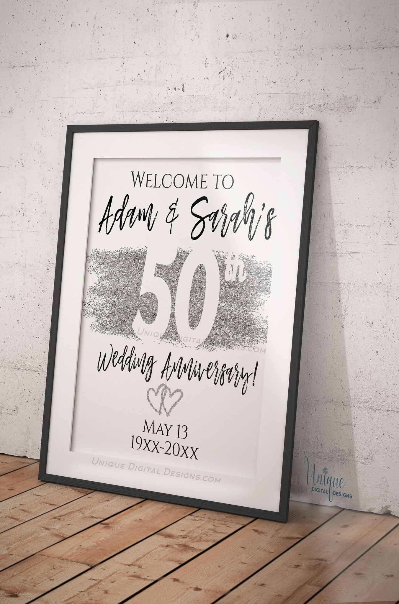 50th anniversary welcome sign  editable wedding anniversary banner  an
