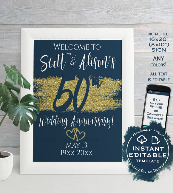 Editable 50th Anniversary Welcome Sign, Any Color Year Wedding Anniversary Sign Decoration, Gold Glitter Printable Template INSTANT DOWNLOAD