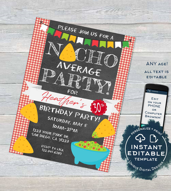Nacho Average Party Invitation, Editable Cinco de Mayo Invite, Cinco de Mayo Guacamole Fiesta Chalkboard Printable