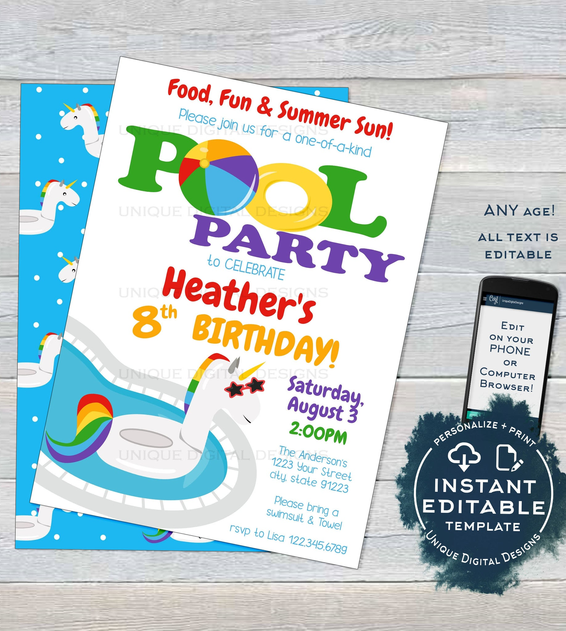 picture relating to Pool Party Printable referred to as Editable Pool Get together Invitation, Unicorn Birthday Pool Celebration