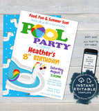 Editable Pool Party Invitation, Unicorn Birthday Pool Party, ANY Age Rainbow Birthday Party, Girls Party Printable