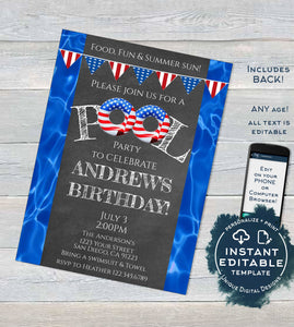 Editable Pool Party Invitation, 4th of July Red White Blue Summer Pool Party, ANY Age Birthday party, Printable Template INSTANT ACCESS