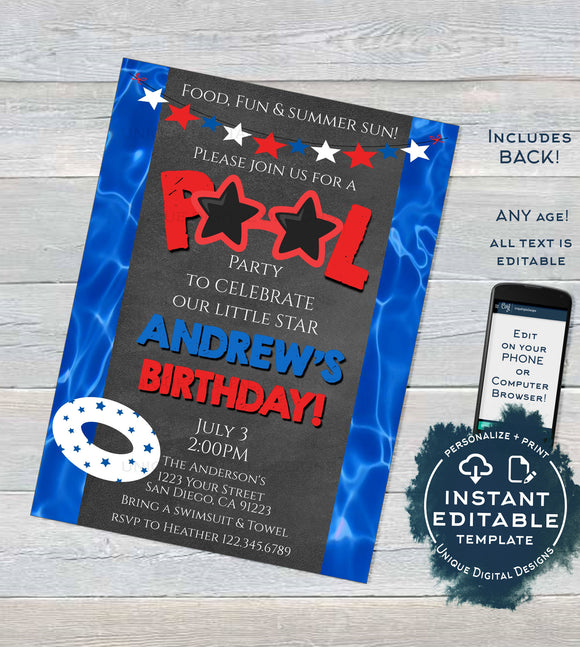 Editable Pool Party Invitation, Summer Red White Blue Pool Party, ANY Age Stars Stripes 4th of July Birthday, diy Printable