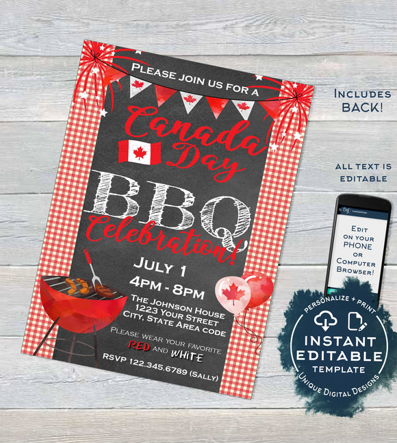 Editable Canada Day Invitation, Oh Canada Day BBQ Invite, Canada Day Eh July 1 Flag Summer Party, A4 Personalized Template INSTANT DOWNLOAD