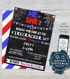 4th of July Gender Reveal Firecracker Theme BUNDLE, Editable Invitation Old Wives Tales Cast Vote Signs Thank You Printable