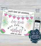 Watermelon Back to School Sign, Editable First day of School Poster, reusable Last day of School, Any Grade Digital Printable