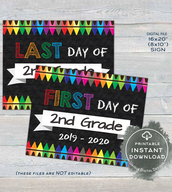 First day of School Chalkboard Sign reusable, 1st day 2nd Grade Sign Last day of School Crayon Digital Printable INSTANT DOWNLOAD 16x20 8x10