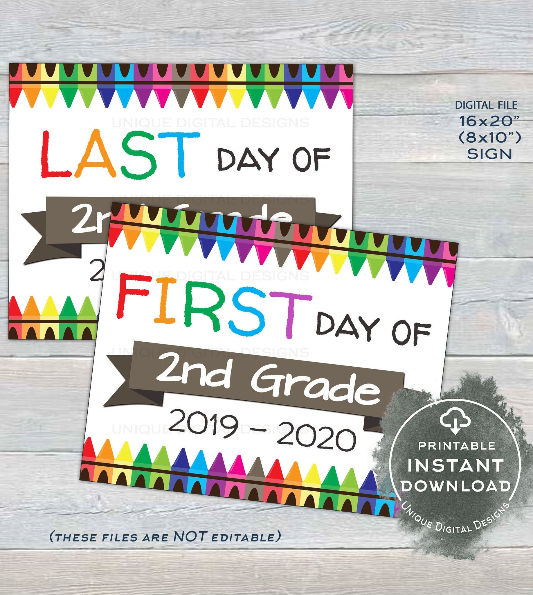 graphic relating to First Day of 2nd Grade Printable Sign known as 2019 Very first working day of College Indications, Reusable 1st working day 2nd Quality Signal, Back again toward Faculty Previous working day of Faculty Crayon Electronic Printable Instantaneous Obtain