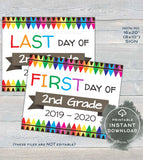 2019 First day of School Signs, Reusable 1st day 2nd Grade Sign, Back to School Last day of School Crayon Digital Printable