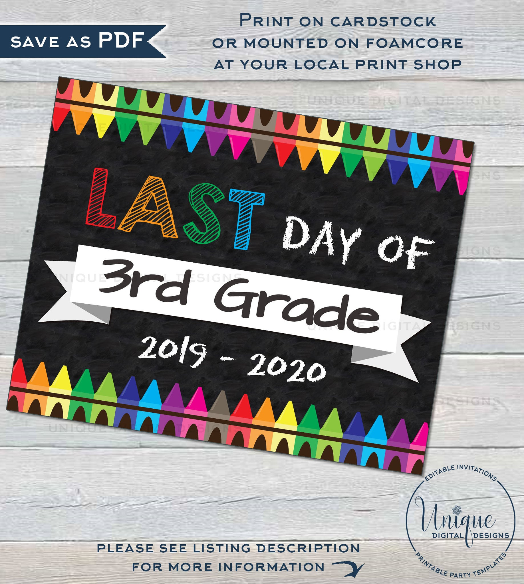 image regarding First Day of 3rd Grade Sign Printable identify Initially working day of Faculty Chalkboard Indicator reusable, Back again toward College