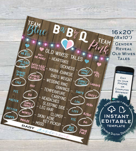 Rustic BaByQ Gender Reveal, Editable Old Wives Tales & Cast Vote Signs, He or She Summer BBQ Wood, What will Baby Printable