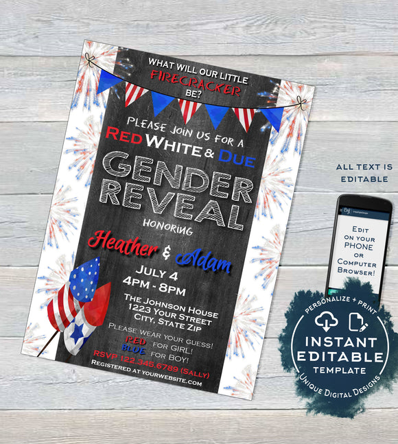 Red White and Due Firecracker Gender Reveal Invitation, Editable 4th of July Firecracker Baby Shower July 4th bbq Printable