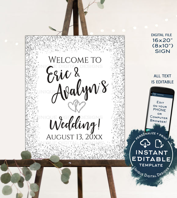 Editable Silver Wedding Welcome Sign, Personalized Glitter Welcome to our Wedding Poster, Table Decorate Printable