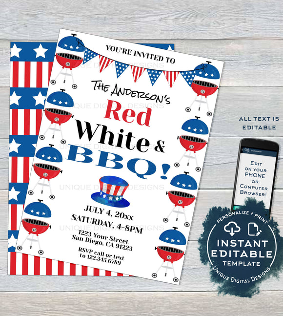 4th of July BBQ Invitation, Editable Red White and bbq Summer Yard Grill Out July 4th Barbeque Party Printable Personalized INSTANT DOWNLOAD