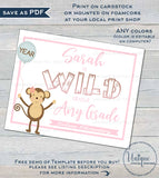 Editable First Day of School Sign, Girls Wild about School Sign, Animal School Board Any Grade Digital Printable