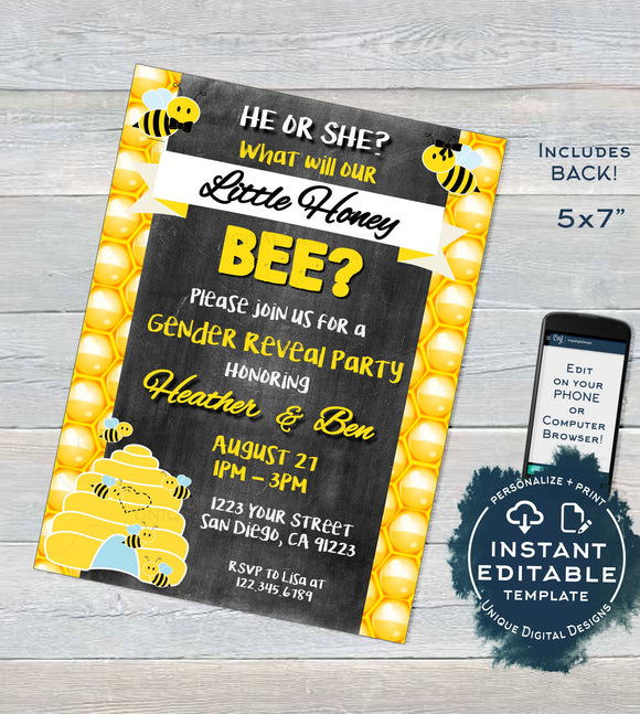 Editable What will Baby Bee Gender Reveal Invitation, Honey Bee He or She Baby Shower Party, diy Digital Printable Chalkboard INSTANT ACCESS