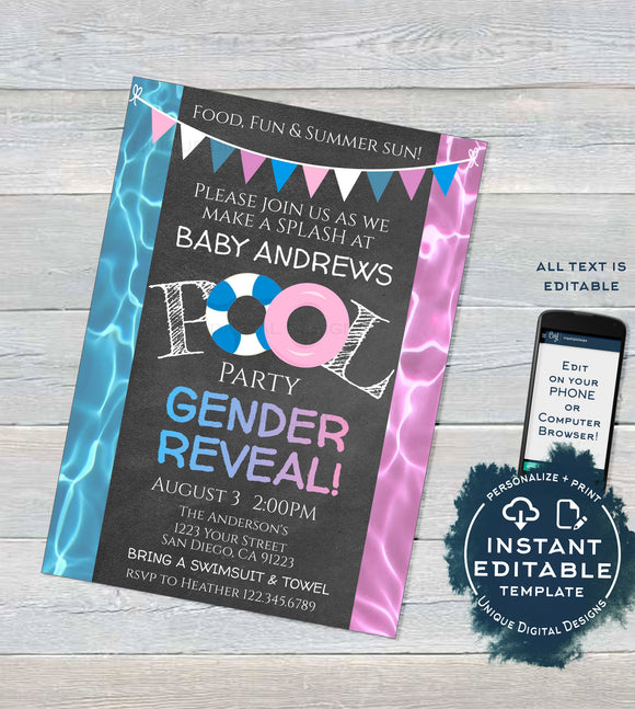Editable Pool Party Gender Reveal Invitation, He or She Summer Pool Party, What will Baby Be Baby Shower Printable Template INSTANT ACCESS