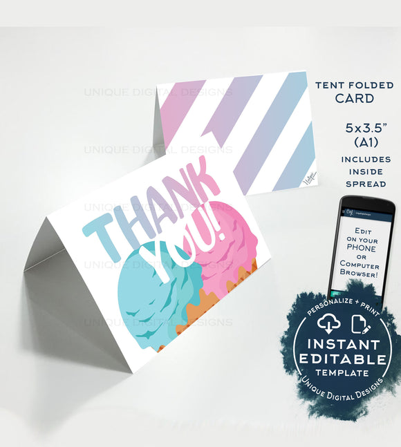 Ice Cream Thank You Card, Editable Whats the Scoop Printable, Summer Gender Reveal Baby Shower Birthday Thanks Folded Card,