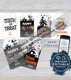 Editable Halloween Favor Tags, Girls Pumpkin Personalized Halloween Tag Trick or Treat Printable Goodie Gift Tag for Teachers INSTANT ACCESS