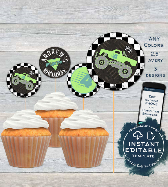 Monster Truck Cupcake Toppers, Editable Birthday Bash Party Rev Engines Avery Printable Cake Favor Tags Decoration