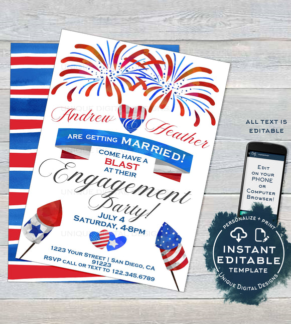 4th of July Engagement Party Invitation, Editable Red White Blue Firework July Wedding Shower Blast Printable Personalized