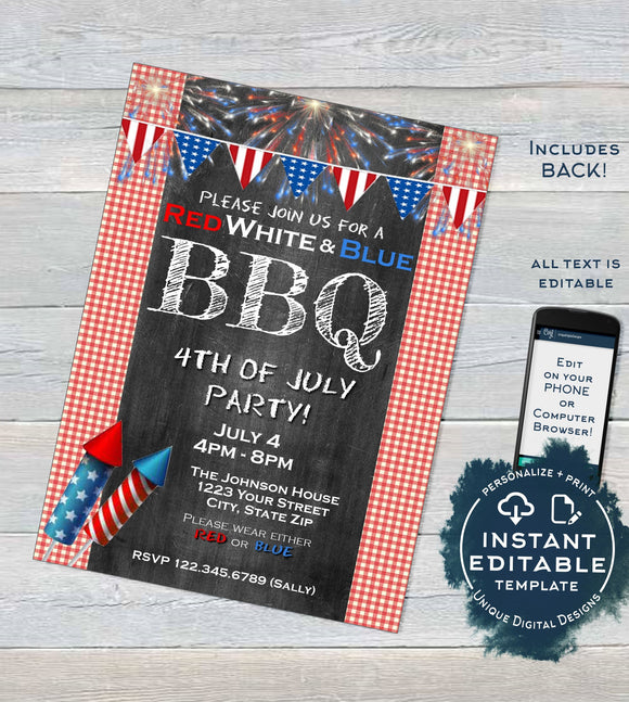 4th of July BBQ Invitation, Editable Red White and blue bbq Summer Grill Out July 4th Barbecue Party Printable Personalized INSTANT DOWNLOAD
