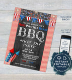 4th of July BBQ Invitations Red White and blue bbq Summer Yard Grill Out July 4th Barbeque Party Printable Personalized