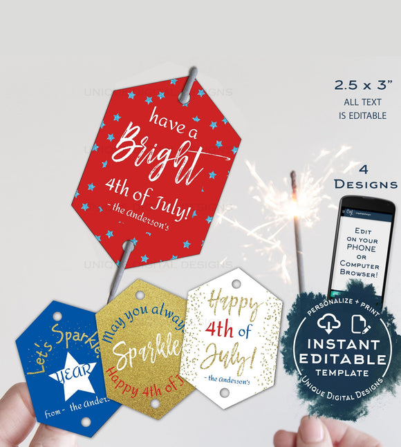 Sparkler Tag Template, Editable 4th of July Printable Favor Tags, Personalized Let's Sparkle Birthday Party Thank you diy INSTANT DOWNLOAD