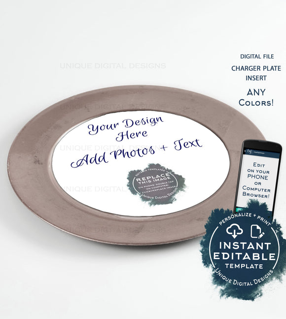 Custom Charger Plate Inserts, Editable Menu Cards, Weddings, Bridal Showers, Baby Shower Parties Digital Personalized diy INSTANT ACCESS 8in