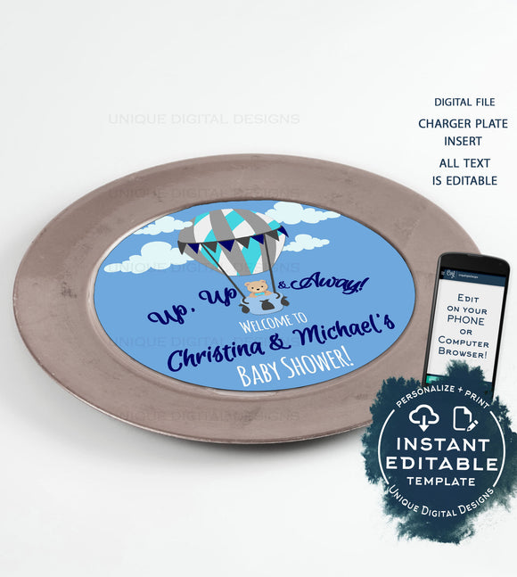 Up Up and Away Charger Plate Inserts, Editable Menu Cards, Welcome Baby Boy, Baby Shower Party Digital Personalized diy  8in