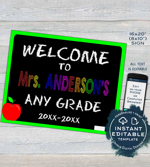 Editable Back to School Sign, Welcome to Teachers Class, Classroom decoration ANY Grade Printable Chalkboard Digital Template INSTANT ACCESS