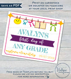 Girls Editable Back to School Sign, First day of School Poster, reusable Last day of School, Any Grade Digital diy Printable