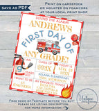 Editable First Day of School Sign, Firetruck Back to School Photo Prop, Chalkboard Poster Reusable Personalized 1st Any Grade