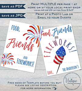 Editable 4th of July Party Decorations, Food Friends Fireworks Printable Table Signs Party Favor Tags, Personalized s