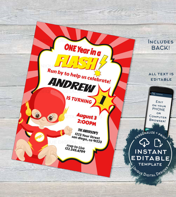 One Year in a Flash Superhero Invitation, Editable 1st Superhero Party First Birthday Invite, ANY Age, diy Digital Printable INSTANT ACCESS