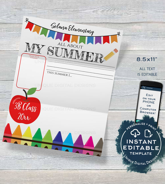 Editable My Summer Worksheet Template Printable, Student Activity Back to School, All About Me Writing Exercise, PTA Flyer INSTANT ACCESS