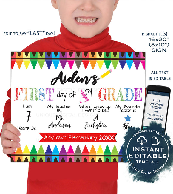 First day of School Sign reusable 2-in-1, Editable Last day of School Board Crayons, Grade Custom Digital Printable