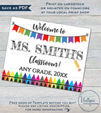 Editable Teacher Door Sign, Reusable Teachers Classroom Decorations, Welcome to First Day of School, Printable   UTCR