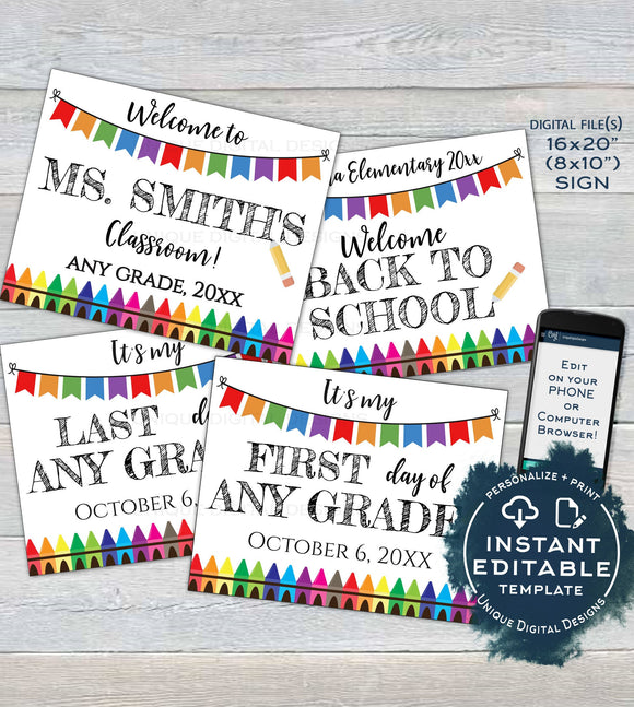 Bundle Editable Back to School Signs, Reusable Back to School Board First Day of School Last Day Teacher Decor Printable INSTANT ACCESS UTCR