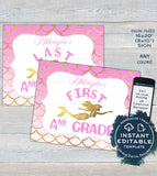 Editable Mermaid Back to School Signs, Girls Reusable First Day plus Last Day of School Any Grade School Photo Printable  UTME