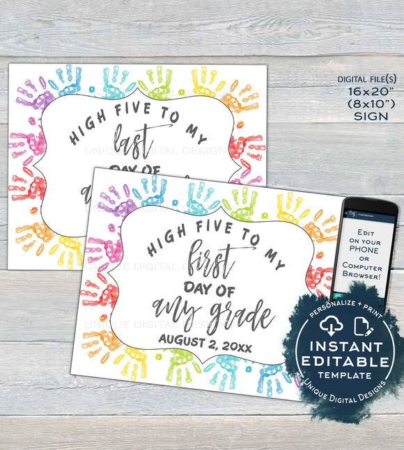 Kids Handprint, Editable Back to School Signs, Reusable First Day plus Last Day of School, Any Grade, School Photo Printable INSTANT ACCESS