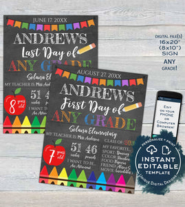 Editable Back to School Photo Prop, 1st Day Back to School Poster, Personalized School Chalkboard Sign Any Grade Digital  UTCR