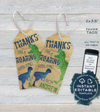 Editable Birthday Favor Tag, Dinosaur Party Favor, Stomp Roar Thank You Favor Tag, Dino mite Party, Dinosaur Party Printable,