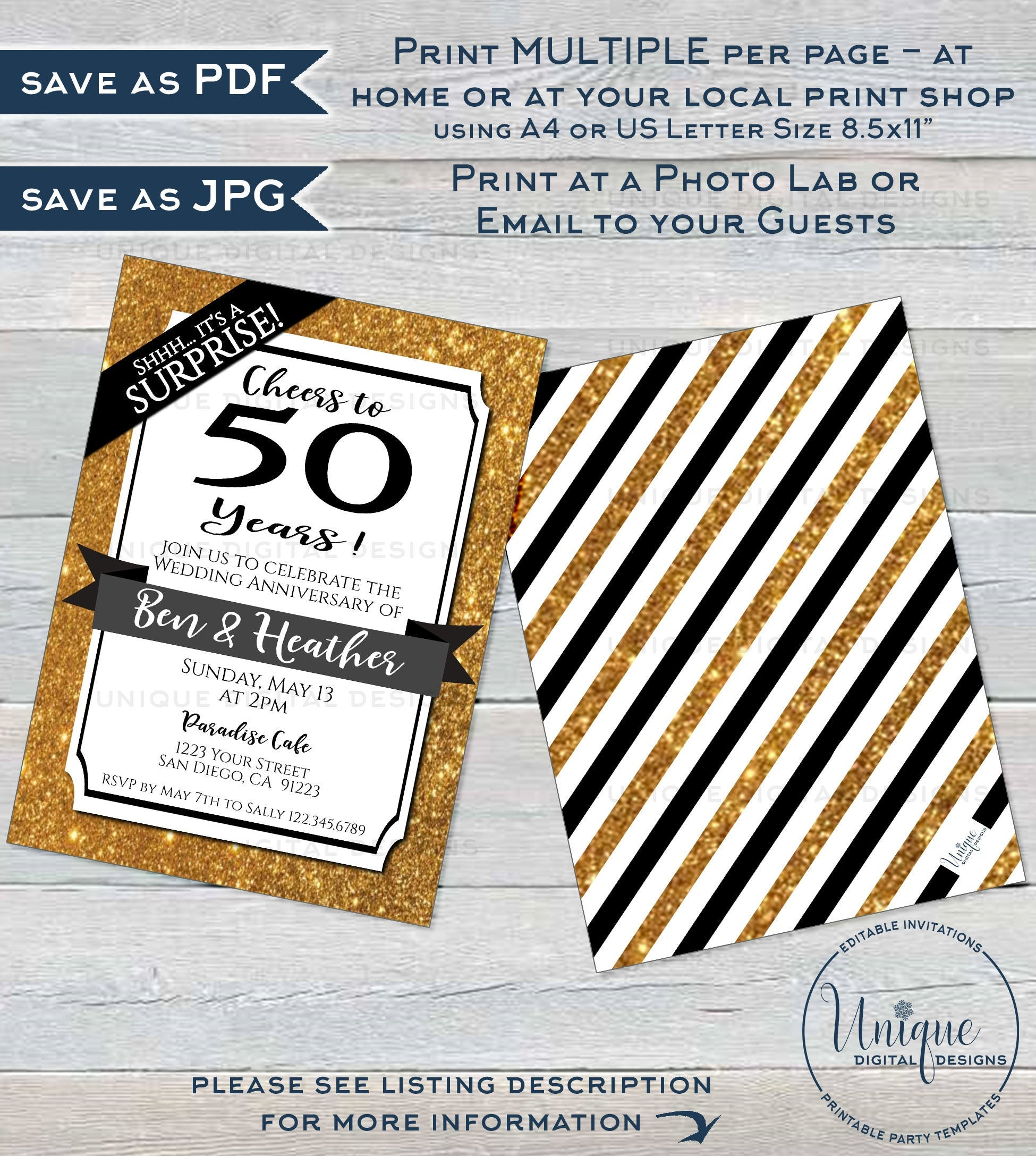50th Anniversay Invitation 50th Wedding Anniversay Gold glitter 10th 20th 25th 30th 40th 50th Any years Golden fifty Printable Digital.