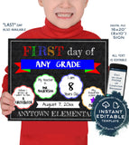 First day of School 2-in-1 Chalkboard Last day of School Sign Any Color Any Year Custom Digital Printable