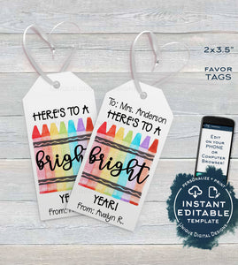 First Day Favor Tags for Teachers, Kids Editable Back to School Teacher Printable Gift Tag, Classroom Thank You Card