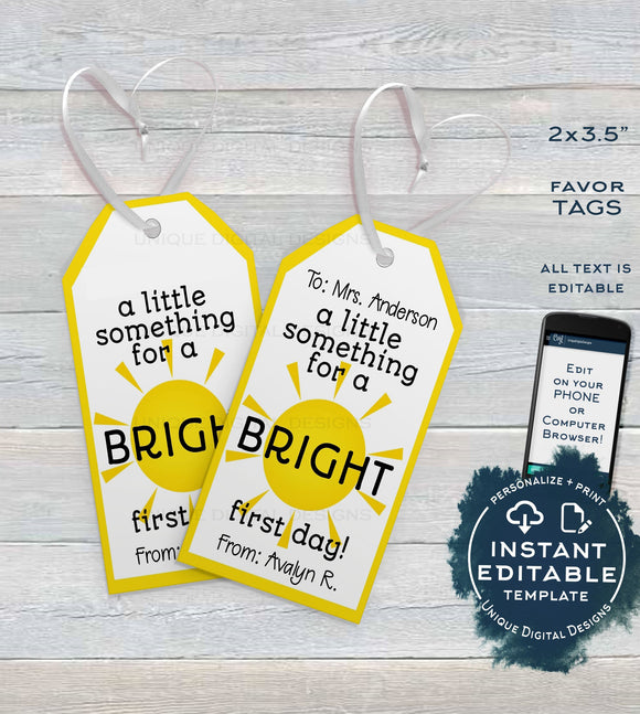 First Day Favor Tags for Teachers, Kids Editable Back to School Teacher Printable Gift Tag, Classroom Thank You Card Template INSTANT ACCESS
